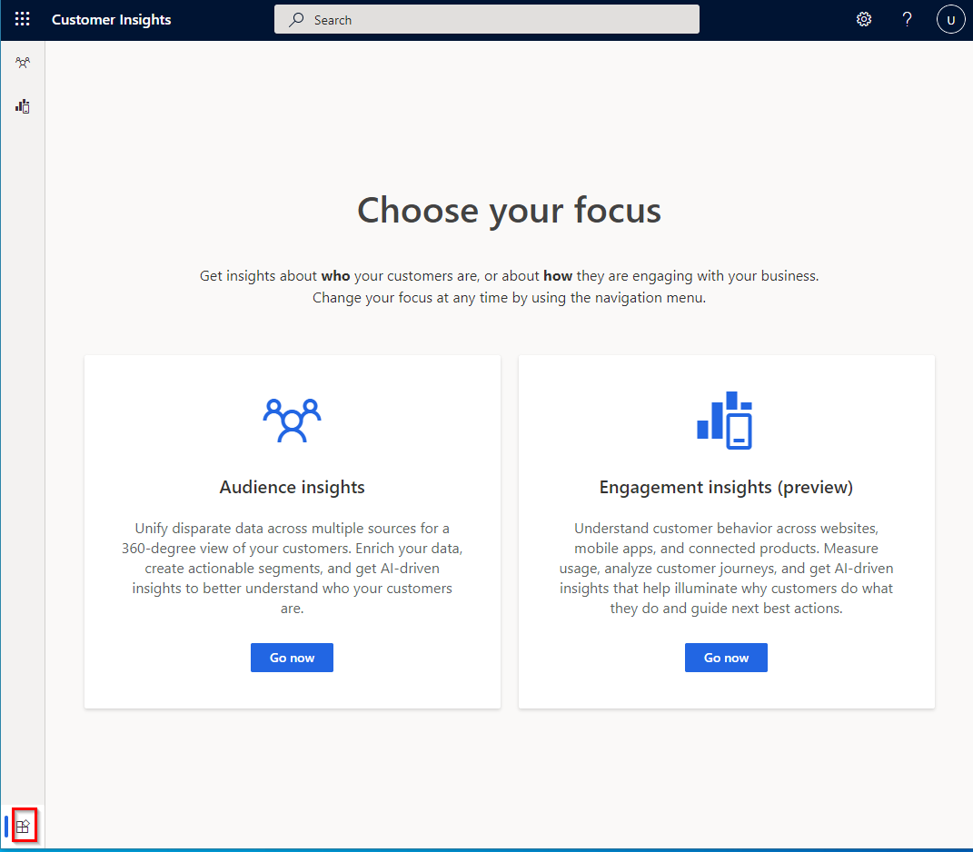 Customer insights page that lets you navigate to audience insights or engagement insights.