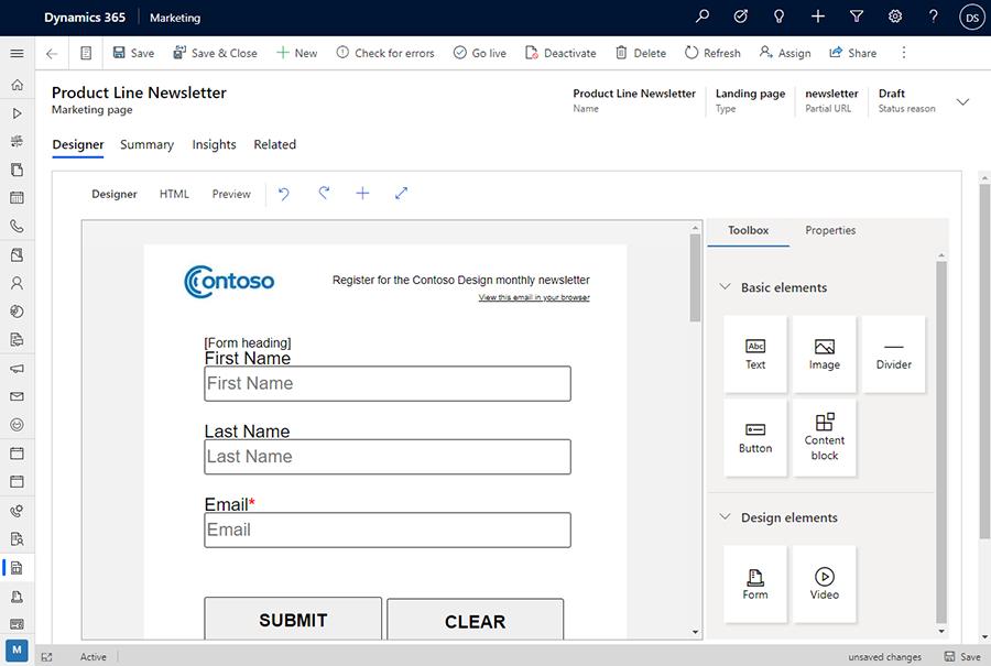 Marketing page designer screenshot