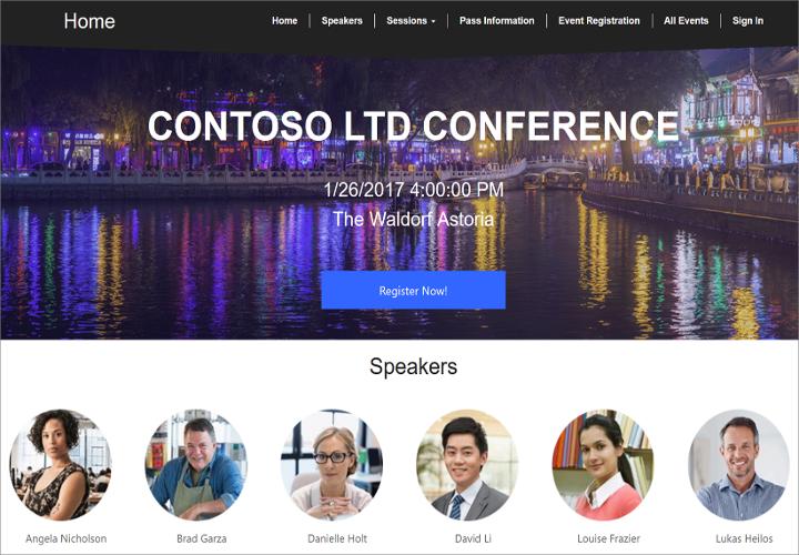 Event website screenshot