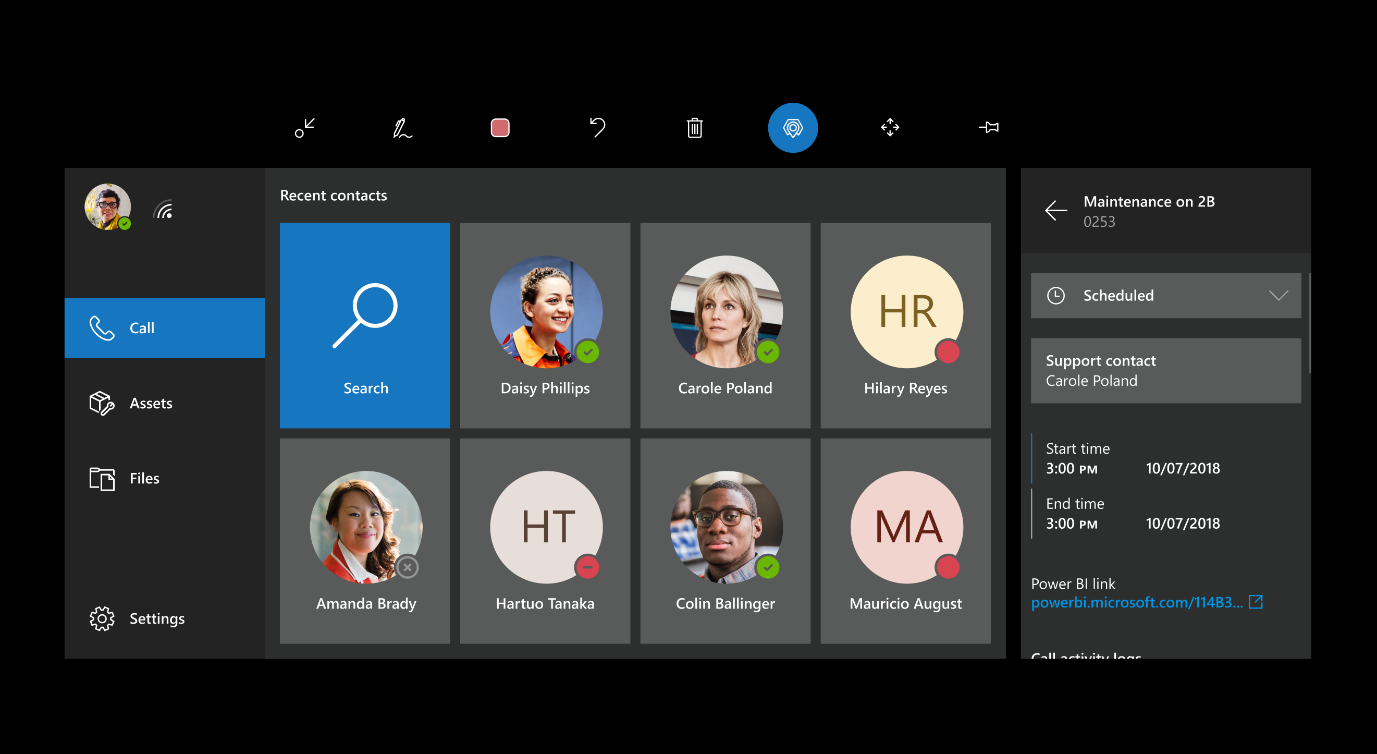 Screenshot of the HoloLens field of view, showing recent contacts and a booking detail pane.